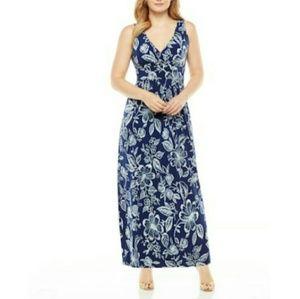 CHAPS floral tropical maxi dress navy plus 20W